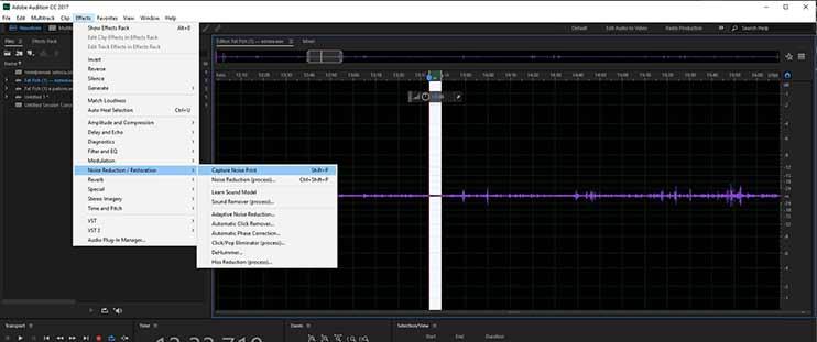 Как очистить запись от шумов - получение образца шума