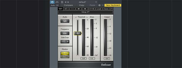 Уменьшение свистящих звуков при помощи деэссера