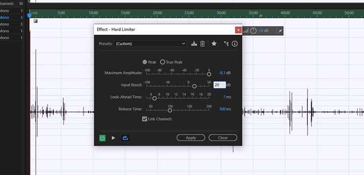 Увеличение громкости записи при помощи эффекта Hard Limit