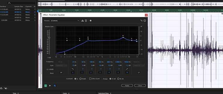 Обработка записи при помощи параметрического эквалайзера - Parametric Equalizer