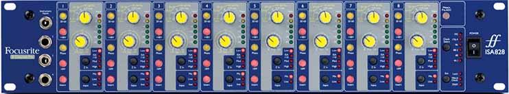 Лицевая панель 8-канального микрофонного предусилителя Focusrite ISA 828