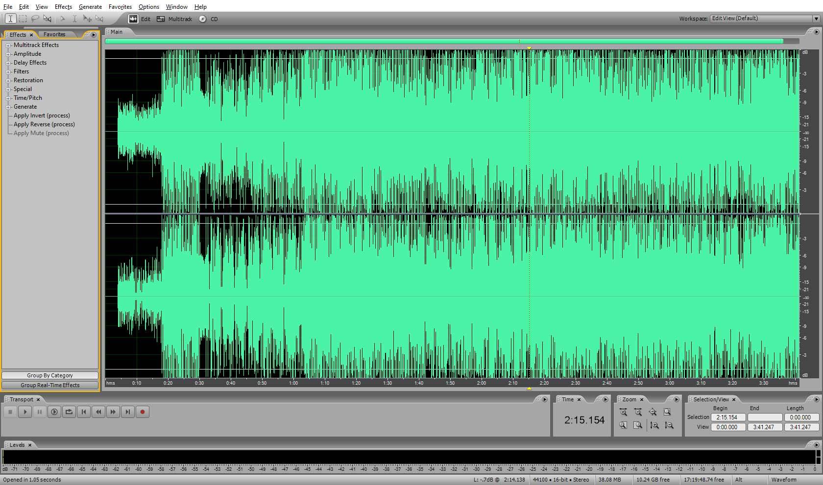 Окно программы Adobe Audition (открыт аудиофайл с минусовкой)