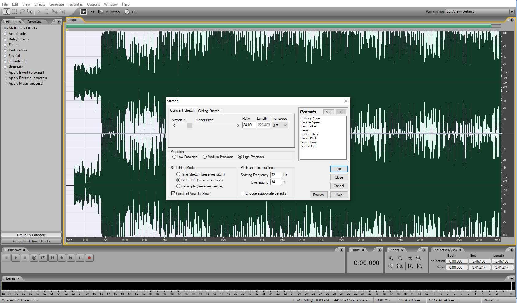 Окно программы Adobe Audition (изменение тональности минусовки)